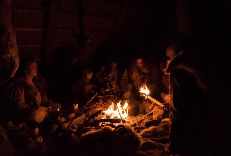 Lucy and a group of friends on a stone age immersion project in Finland last year. They were living in sub zero conditions, wearing handmade clothes and eating wild food. Credit: Tomas Schaefer